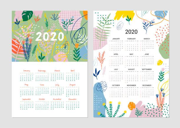 ilustraciones, imágenes clip art, dibujos animados e iconos de stock de calendario 2020 - calendario de flores