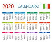 Calendar 2020 - vector illustration. Italian version