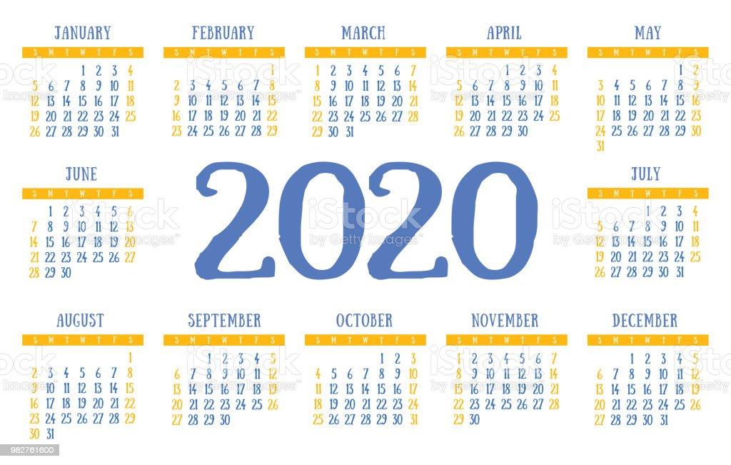 Grille Calendrier 2020 Vecteur Poche Base Modèle De ...