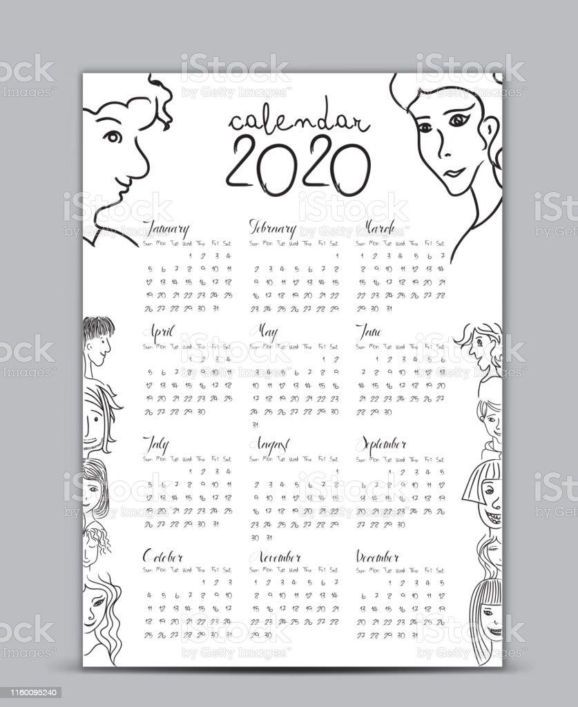 Poster Calendario 2020.Calendar 2020 Vector Template Lettering Calendar Handdrawn