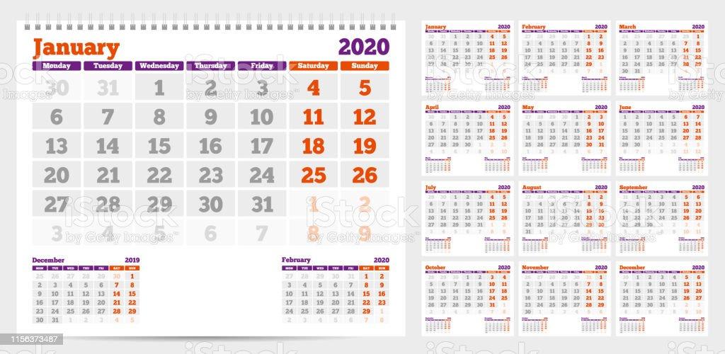 Calendario 2020 Semanas.Vetores De Calendario 2020 Inicio Da Semana A Partir De