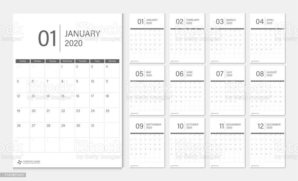 Calendrier 2020 Semaine.Calendrier 2020 Debut De La Semaine Modele De Planificateur