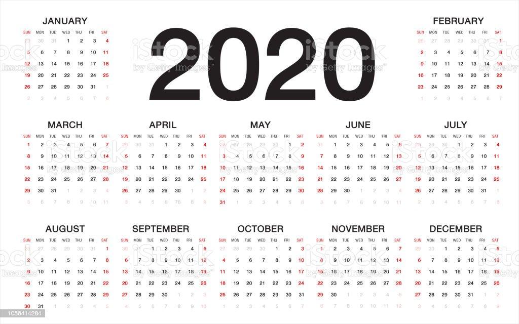 Calendario 2020 Semanas.Vetores De Calendario 2020 Semana Comeca A Partir De Domingo
