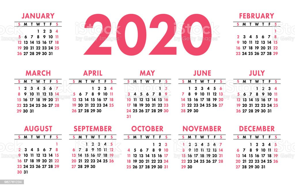 Calendario 2020 Semanas.Vetores De Calendario 2020 Semana Comeca No Domingo Modelo