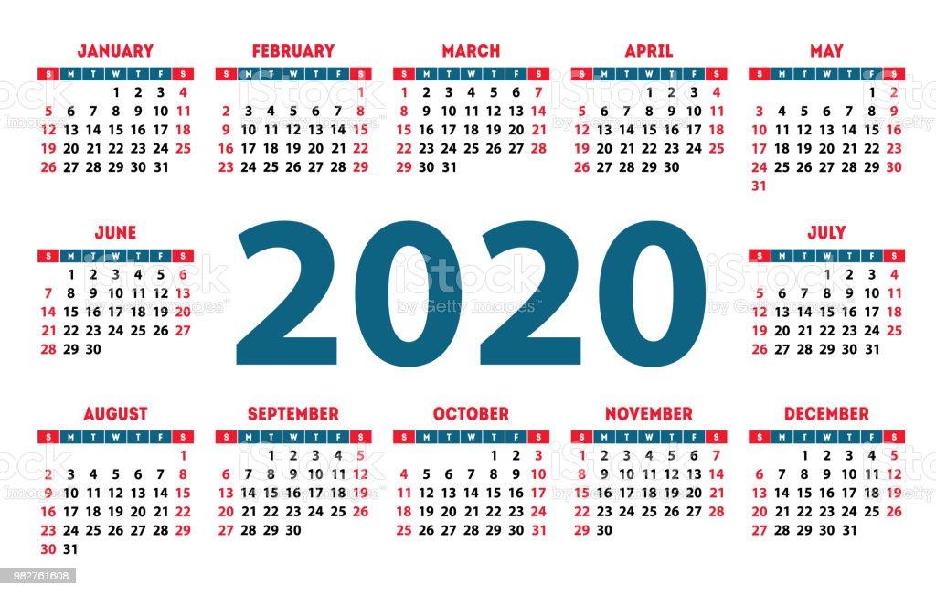 Calendario 2020 Com Feriados.Vetores De Calendario 2020 Semana Comeca No Domingo Modelo