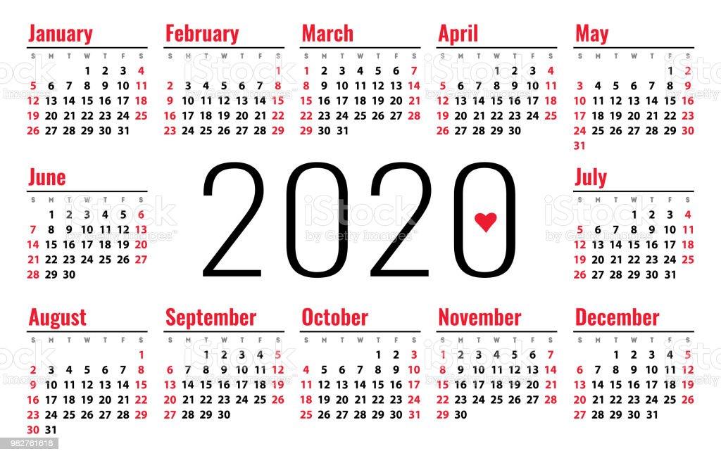 Vector De Calendario 2020.Calendar 2020 Week Starts On Sunday Simple Ready Design