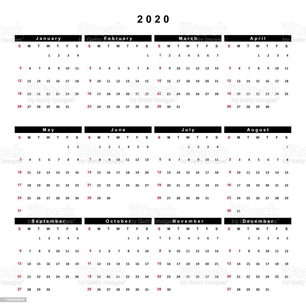 Calendario 2020 Semanas.Vetores De Calendario 2020 Semana Comeca No Domingo E Mais