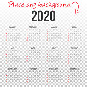 Calendar 2020 on transparent background - International version. Need another version, another year... Check my portfolio. Vector Illustration (EPS10, well layered and grouped). Easy to edit, manipulate, resize or colorize.