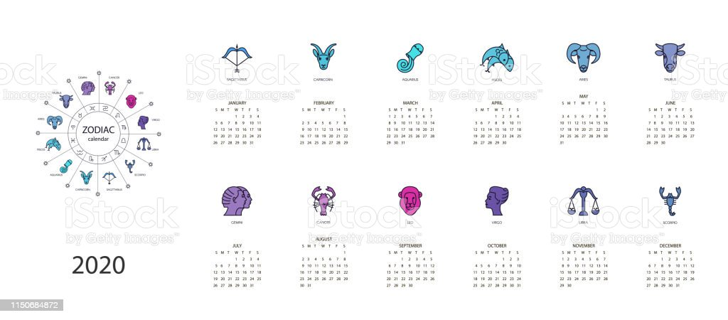 Horoscope Calendar 2020 Calendar 2020 With Horoscope Signs Zodiac Symbols Set Stock