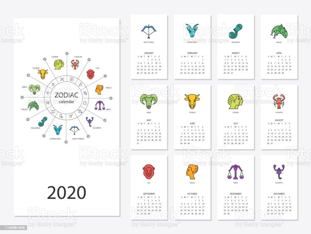 Zodiac Calendar 2020 Calendar 2020 With Horoscope Signs Zodiac Symbols Set Stock