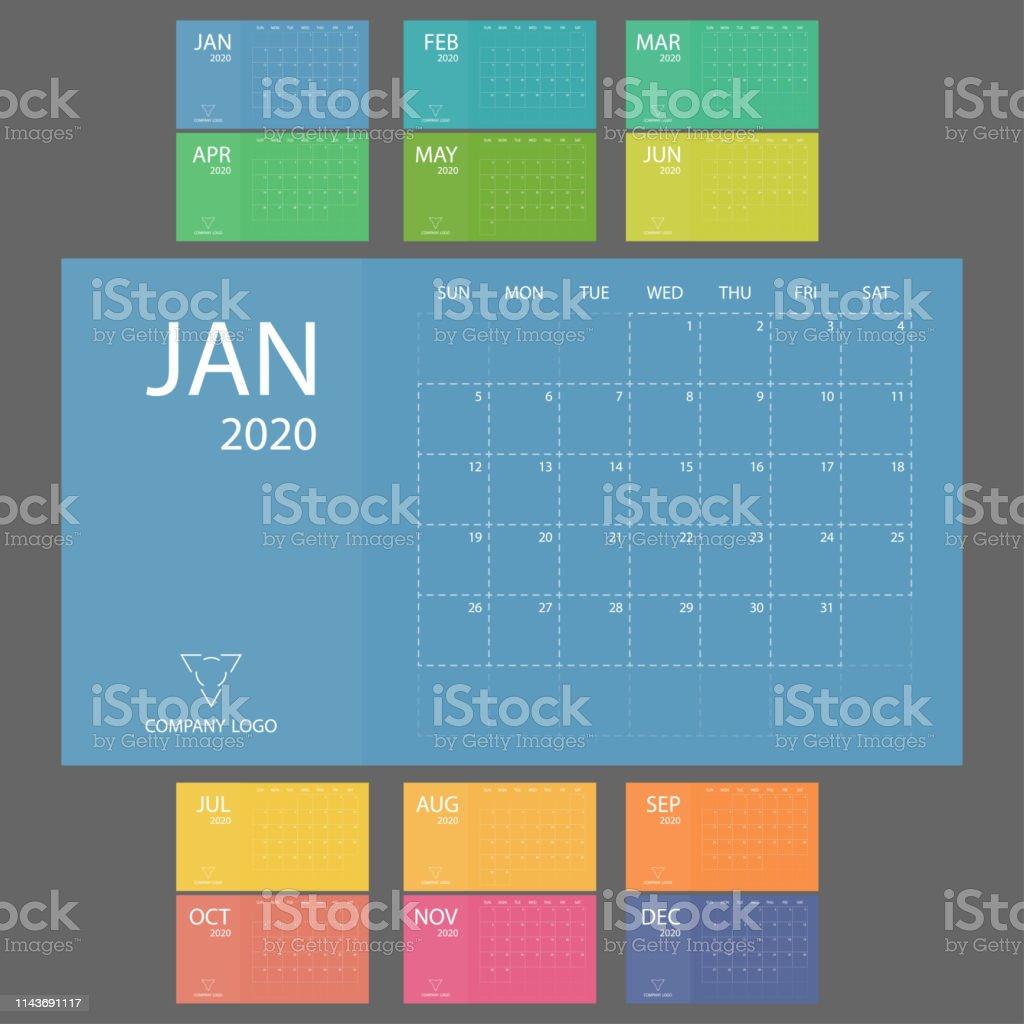 Calendario 2020 Marzo Abril.Ilustracion De Calendario 2020 Con La Semana Comienza El