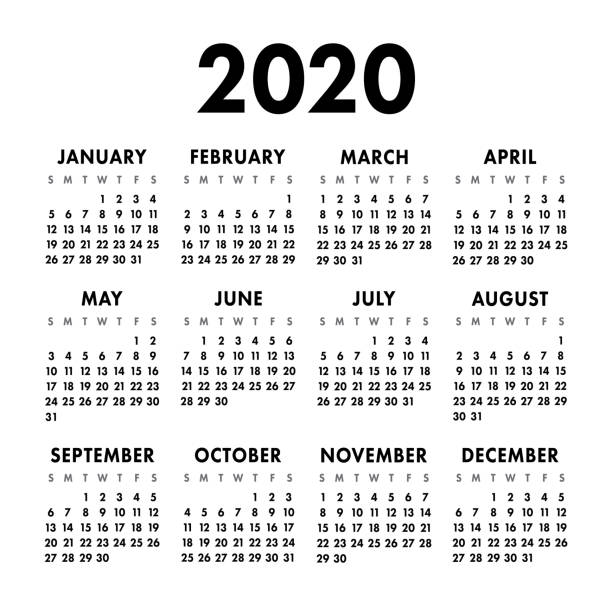 Calendar 2020 year. Black and white vector template. Week starts on Sunday. Basic grid. Pocket square calender. Ready design Calendar 2020 year. Black and white vector template. Week starts on Sunday. Basic grid. Pocket square calender. Ready design calendar stock illustrations
