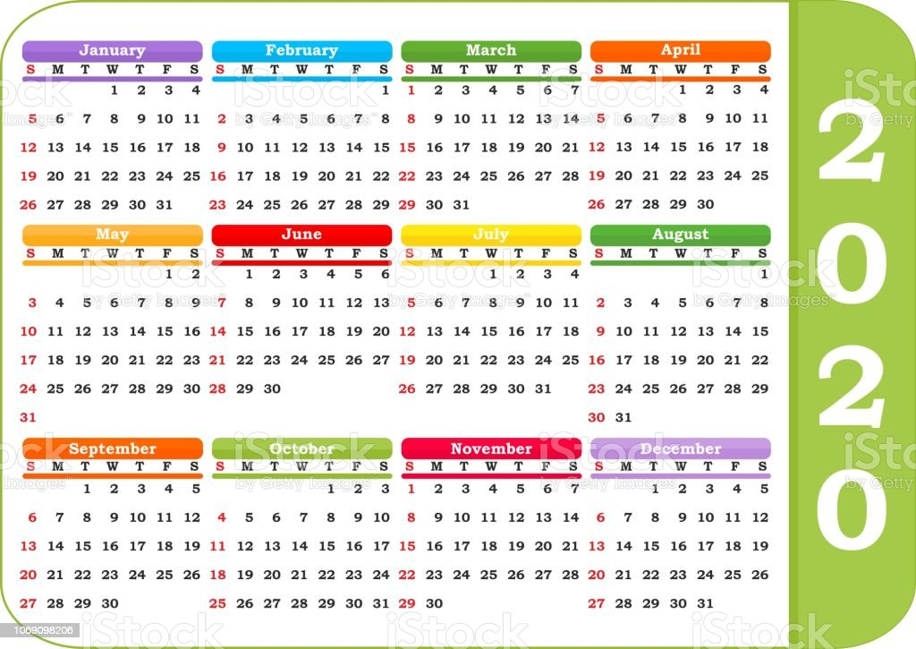 Calendario 206.Calendar 2020 Year In White Background Stock Illustration
