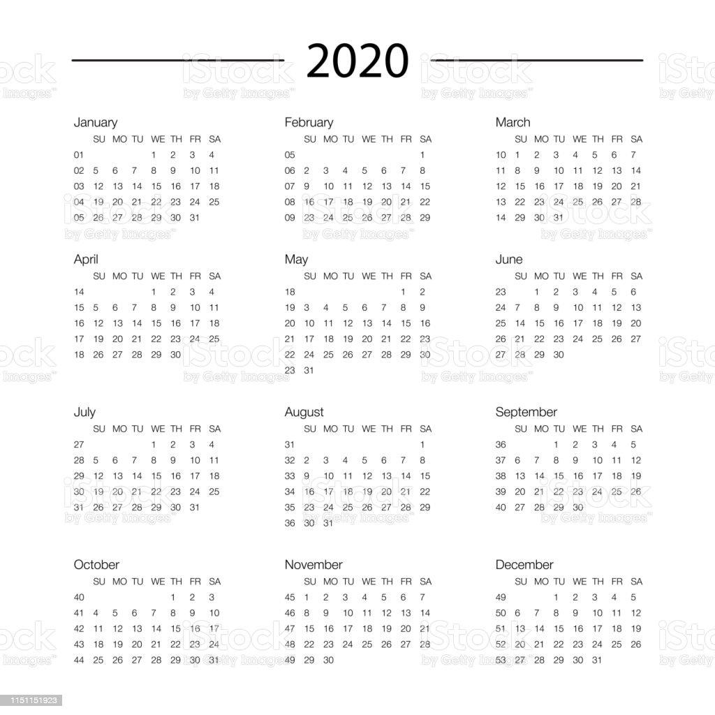 Calendario Moda 2020.Ilustracion De Calendario 2020 Ano Plantilla Planificador