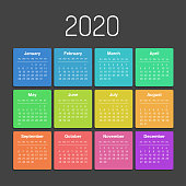 Vector calendar for 2020 year. Day planner the scheduler in this minimalist for print on a white background.