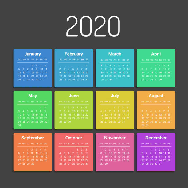 Calendar 2020 year template day planner in this minimalist Vector calendar for 2020 year. Day planner the scheduler in this minimalist for print on a white background. calendar stock illustrations