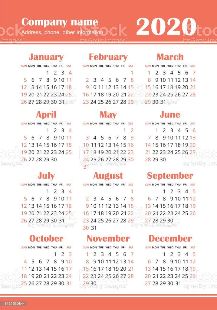 English Calendar 2020 Calendar 2020 Year Vector Design Template Colorful English