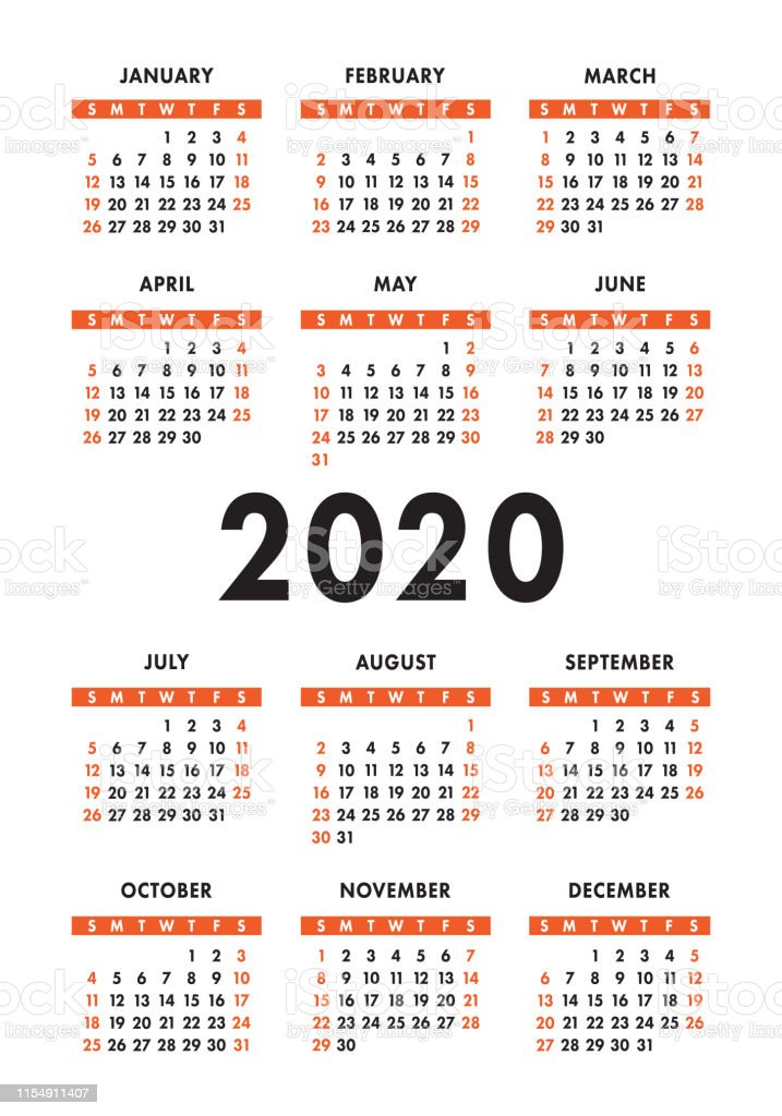 Calendario Verticale 2020.Calendar 2020 Year Vector Design Template Colorful English