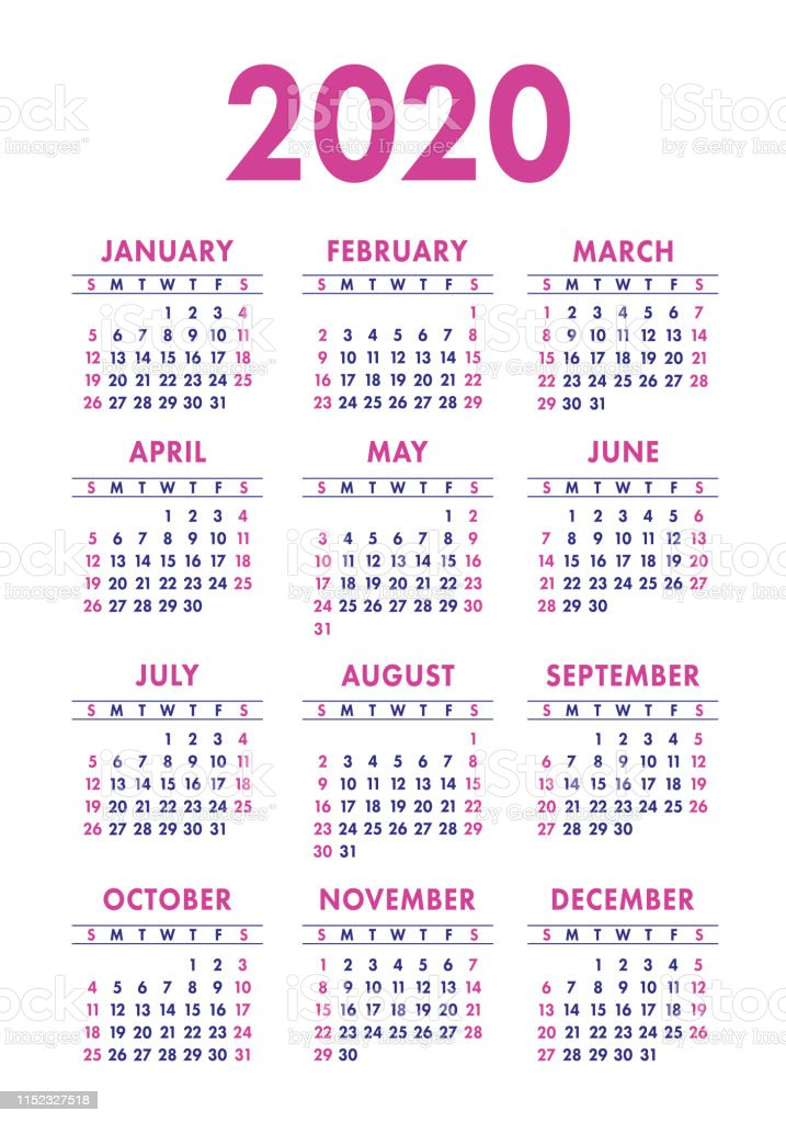 Calendario Verticale 2020.Calendar 2020 Year Vector Design Template English Vertical