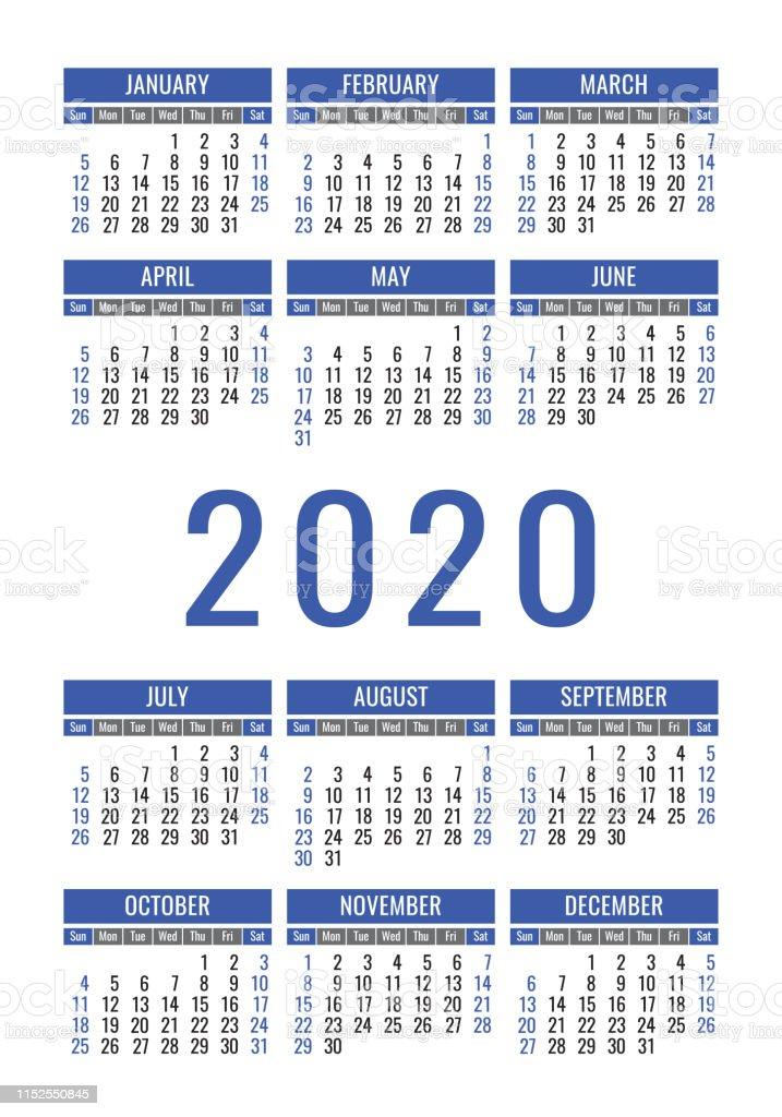 Calendrier 2020 Vectoriel Gratuit.Calendrier 2020 Annee Modele De Conception Vectorielle
