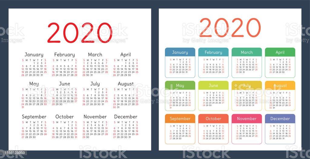 kalender 2020 jahr vector design vorlage gesetzt bunte taschenkalender woche beginnt am sonntag