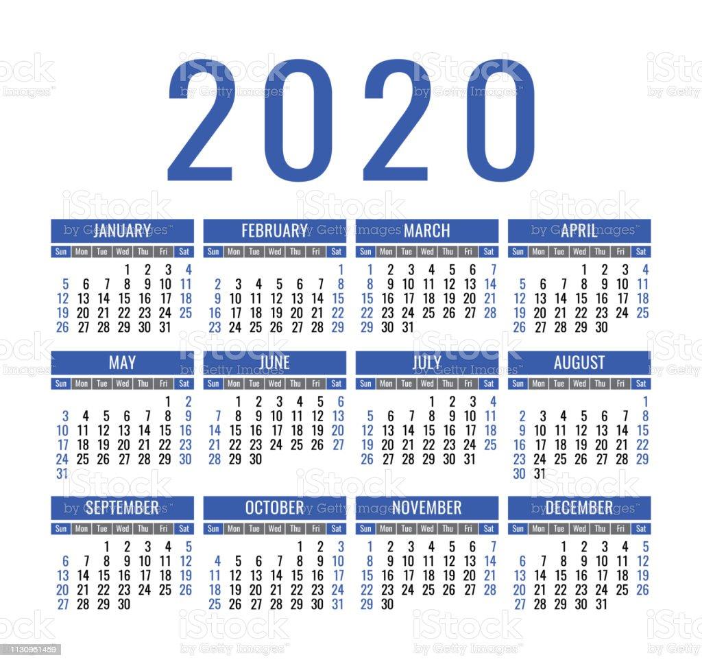 Modele De Calendrier 2020.Calendrier 2020 Annee Modele De Calendrier De Poche Ou De