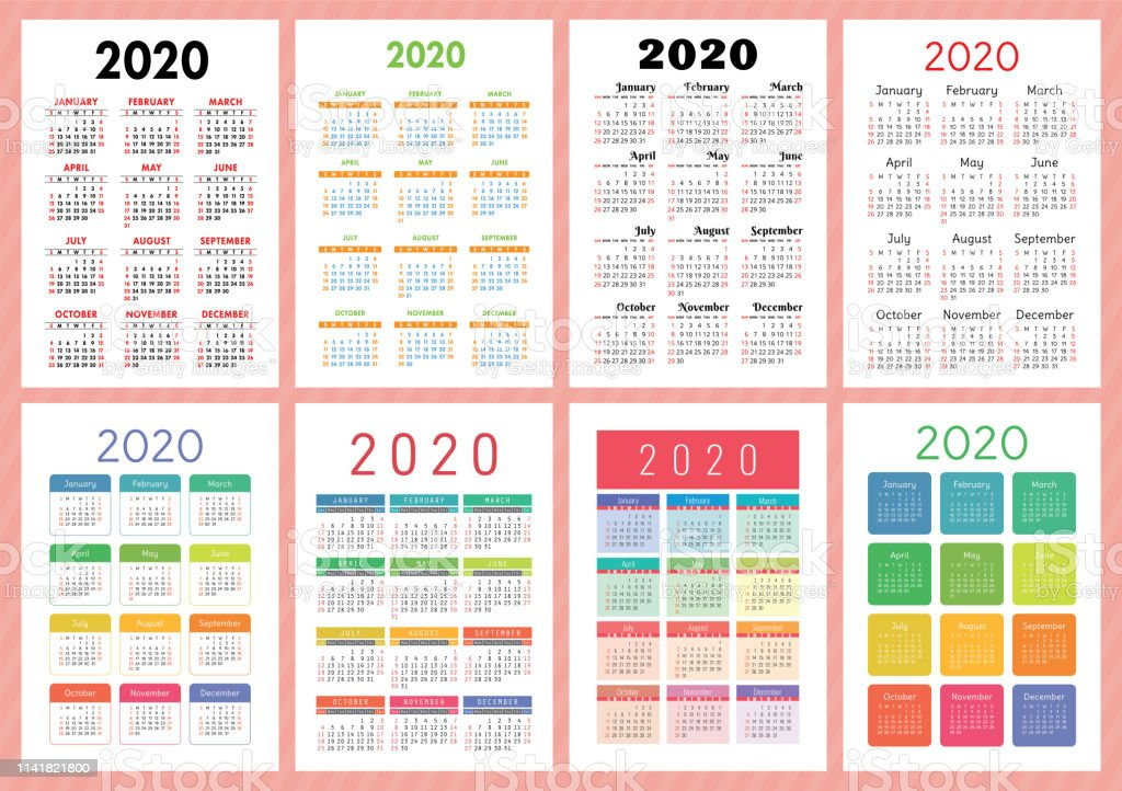 Calendario 2020 Con Week.Calendar 2020 Year Vector Template Collection Colorful English Pocket Calender Set Week Starts On Sunday Stock Illustration Download Image Now