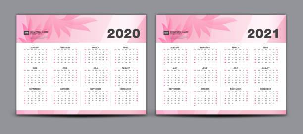 ilustraciones, imágenes clip art, dibujos animados e iconos de stock de calendario 2020-2021, set desk calendar 2020-2021 vector de plantilla, conjunto de 12 meses, semana comienza domingo, papelería, planificador, impresión, concepto de belleza, fondo de flor rosa, idea creativa - calendario de flores