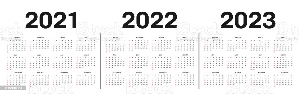 2023 And 2022 Calendar With Holidays.Calendar 2021 2022 And 2023 Template Calendar Template In Black And White Colors Holidays In Red Colors Stock Illustration Download Image Now Istock
