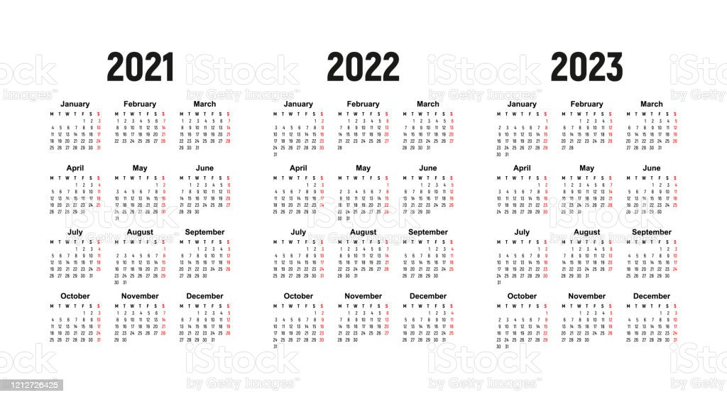 Calendrier 2022 2023 Top 14 Calendar 2021 2022 And 2023 Week Starts On Monday Stock