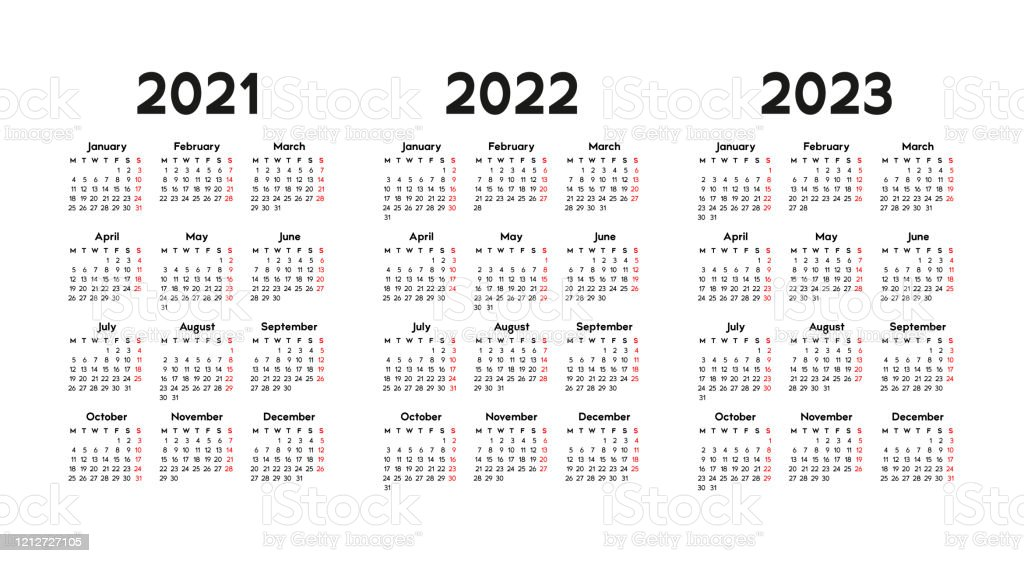 Free Printable 2022 2023 Calendar.Calendar 2021 2022 And 2023 Week Starts On Monday Stock Illustration Download Image Now Istock