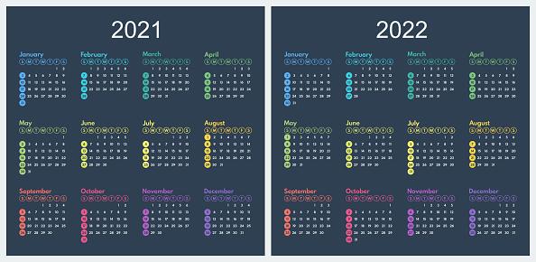 calendar 2021 2022 minimalistic full year colorful grid, starts sunday