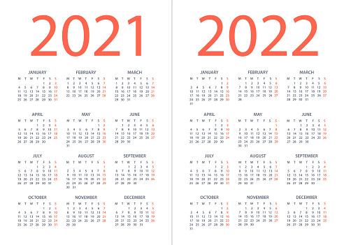 Calendar 2021 2022 - vector illustration. Week starts on Monday