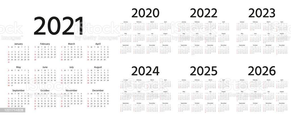 Calendrier 2021 2022 2023 2024 2025 2026 2020 Ans Illustration De