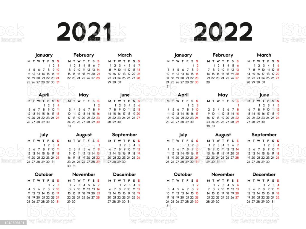 Calendar Wallpaper 2022.Calendar 2021 And 2022 Week Starts On Monday Stock Illustration Download Image Now Istock