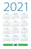 Calendar 2021 Brazil - vector illustration. Brazilian version. Portuguese language
