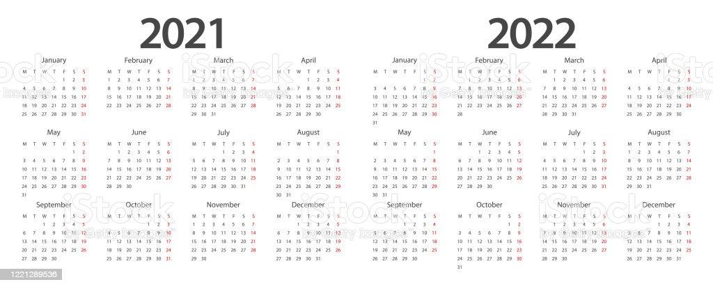Calendar 2021 Calendar 2022 Design Template Week Start Monday