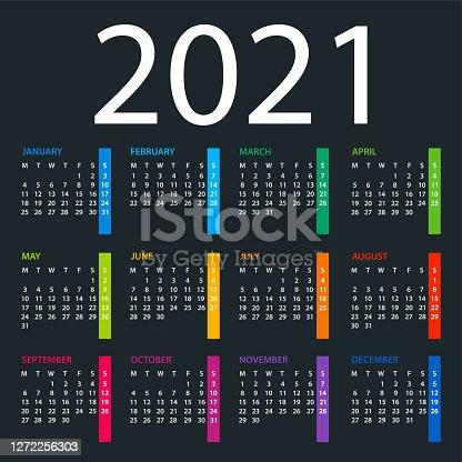Calendar 2021 - color vector illustration. Week starts on Monday. Dark Background