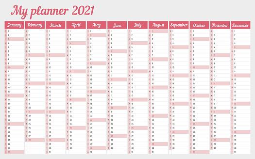 Calendar 2021 Daily Event Planner Stock Illustration ...