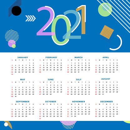 Calendar 2021. English calender template. Vector grid. Creative design