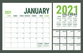 Calendar 2021. English calender template. Vector square grid. Office business planning. Creative design. Green color