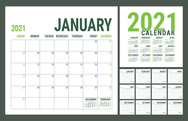 Calendar 2021. English calender template. Vector square grid. Office business planning. Creative design. Green color Calendar 2021. English calender template. Vector square grid. Office business planning. Creative design. Green color calendars templates stock illustrations