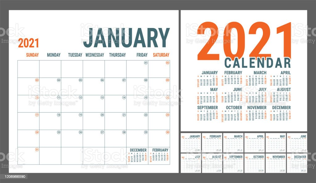 Calendar 2021 English Calender Template Vector Square Grid Office