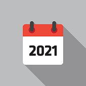 Calendar 2021 Flat Icon Vector Illustation