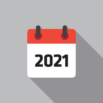 Ilustración de Calendario 2021 Icono Plano Vector Illustation y