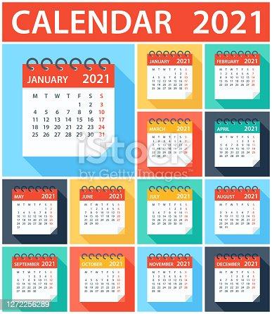istock Calendar 2021 - Flat Modern Colorful. Week starts on Monday 1272256289