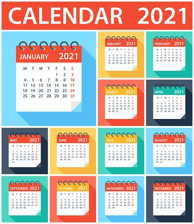 Calendar 2021 - Flat Modern Colorful. Week starts on Monday