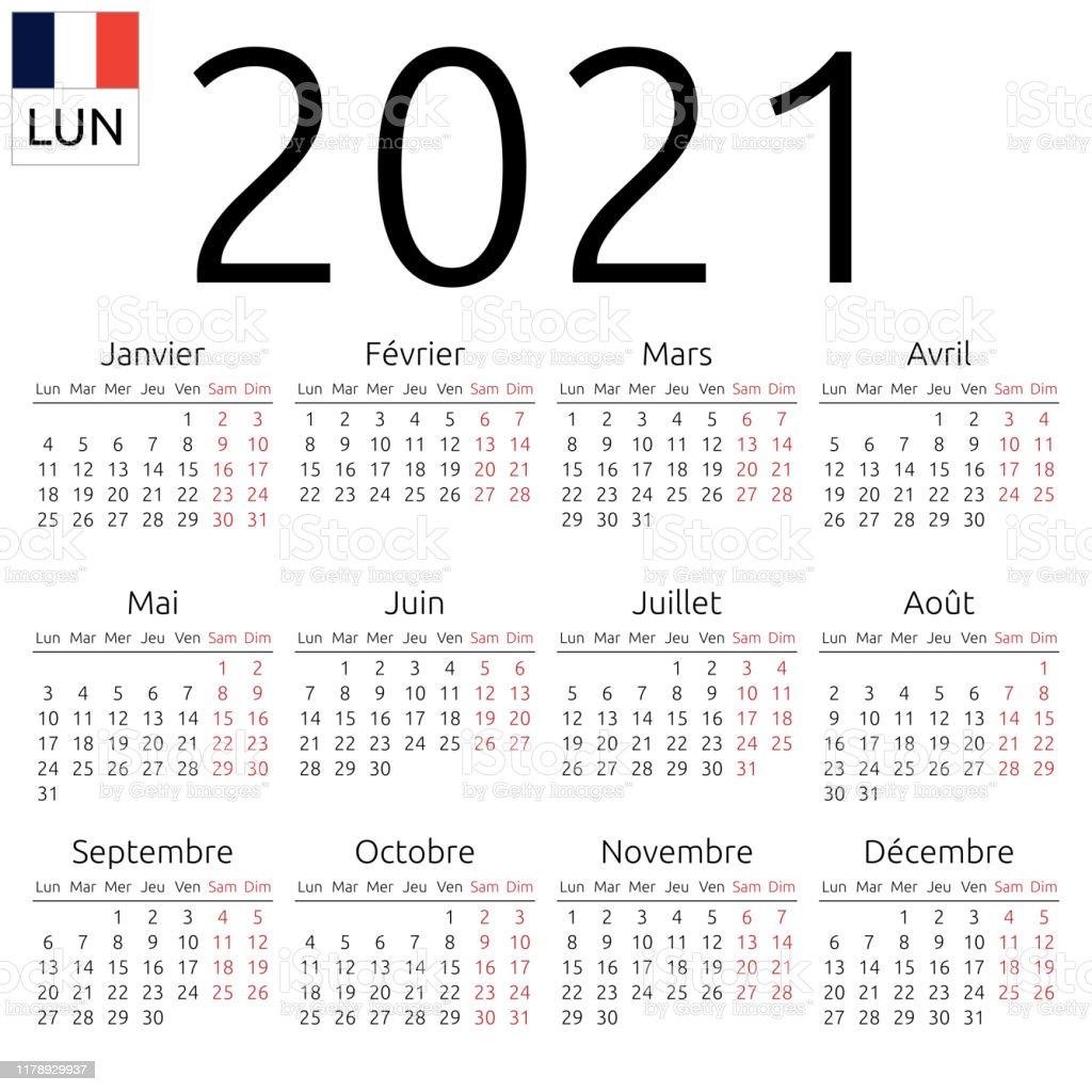 Calendrier 2021 Français Calendrier 2021 Français Lundi Vecteurs libres de droits et plus d