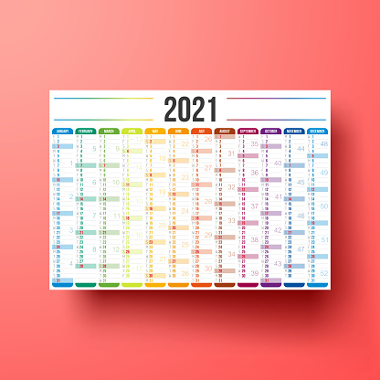 Calendar 2021 isolated on red background