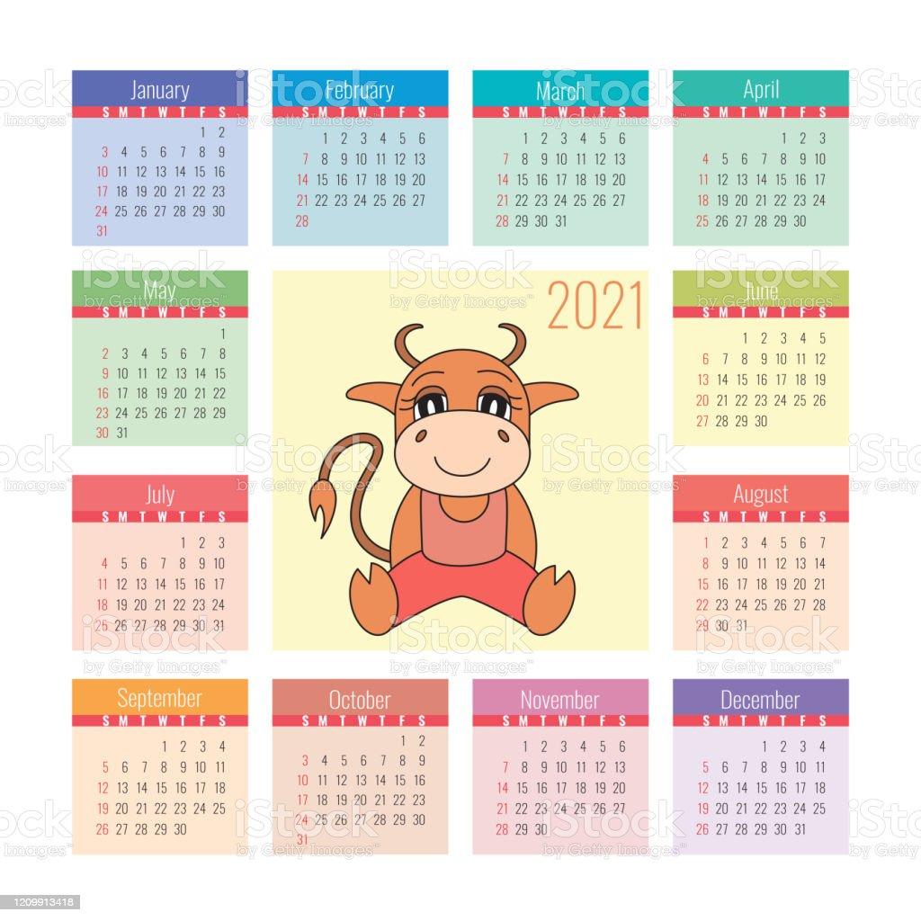 Calendrier 2021 Symbole De Boeuf De La Nouvelle Année Modèle De